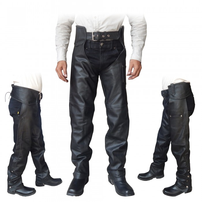 ARD CHAMPS™ Unisex Genuine Black Leather Motorcycle Chaps for Bikers