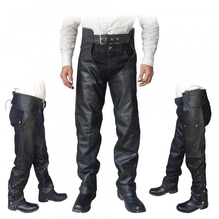unisex black genuine leather mens ladies motorcycle biker chaps new all sizes