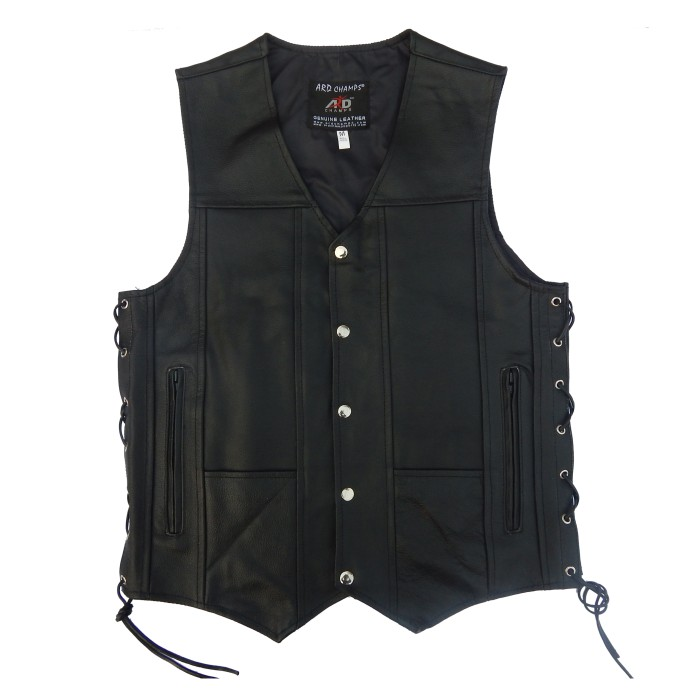 ARD CHAMPS™ Men's Black Genuine Leather 10 Pockets Motorcycle Biker Vest S To 6X