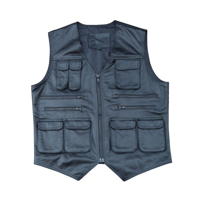 16a529ea3 ARD® Men's Leather Motorcycle Cargo Hiking Vest with Gun Pocket and Front  Pockets