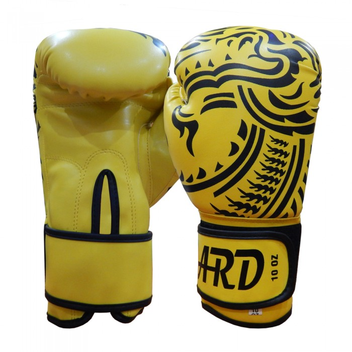 ARD® Art Leather Boxing Gloves Fight Punching Bag MMA Muay Thai Kickboxing- Yellow with Dragon Design