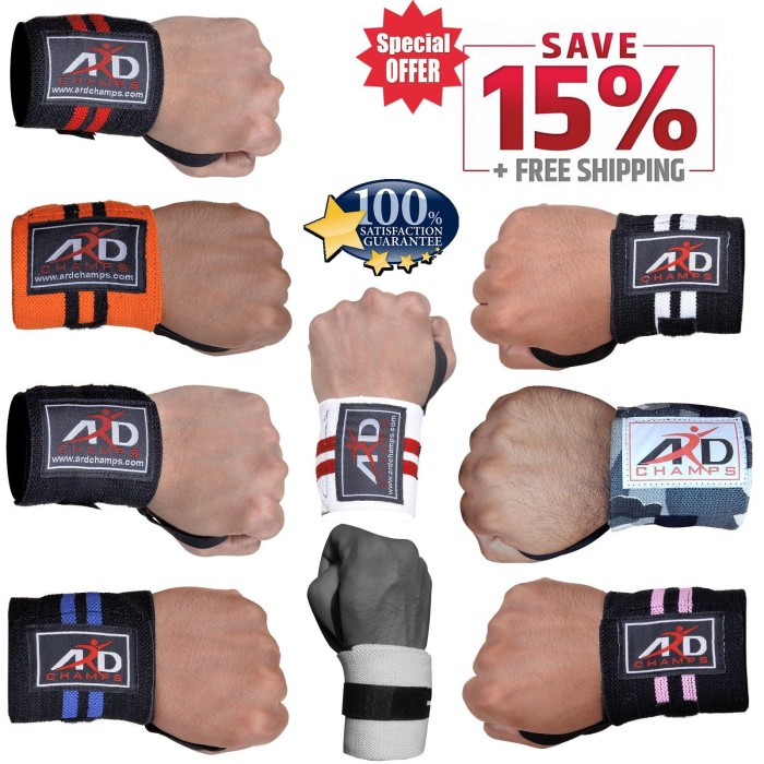 ARD Gym Weight Lifting Wrist Wraps Bandage power Hand Support Strap Training Pair